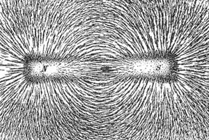Pilitura de fier la lucru pentru ilustrarea campului magnetic