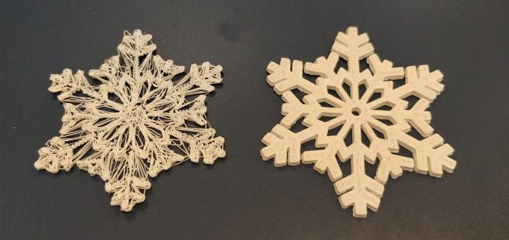 Comparatie intre fulgii de zapada printati 3D