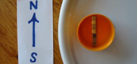 Magneti cub intr-un dop care se orienteaza pe directia Nord-Sud