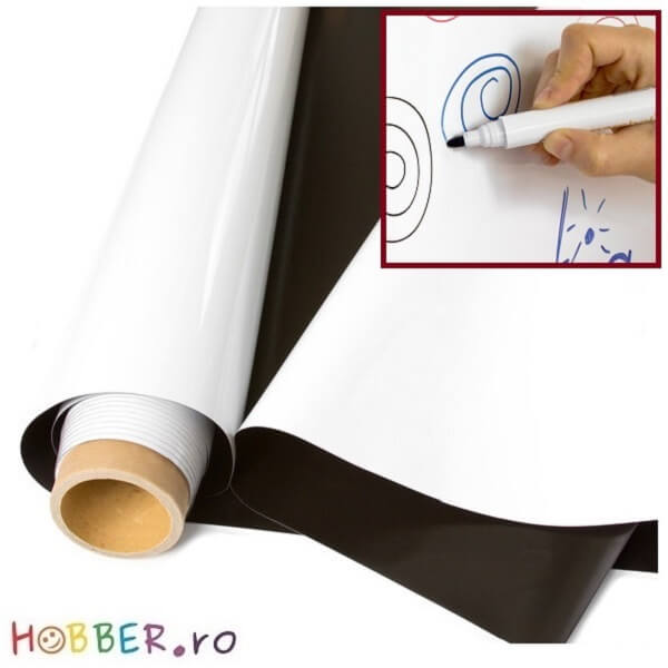 Folie magnetica whiteboard, latime 62 cm, lungime 5 m (rola)